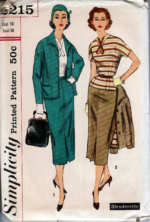 Late 1950's Misses' and Women's Three-Piece Suit Simplicity 2215  Size 18 Bust 38