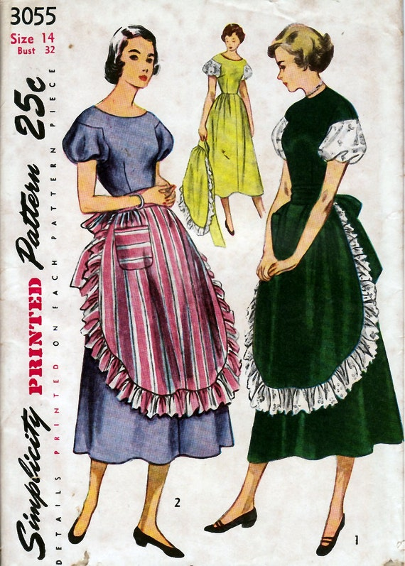 1940'50's Misses' One-Piece Dress and Apron  Simplicity 3055  Size 34  Bust 32