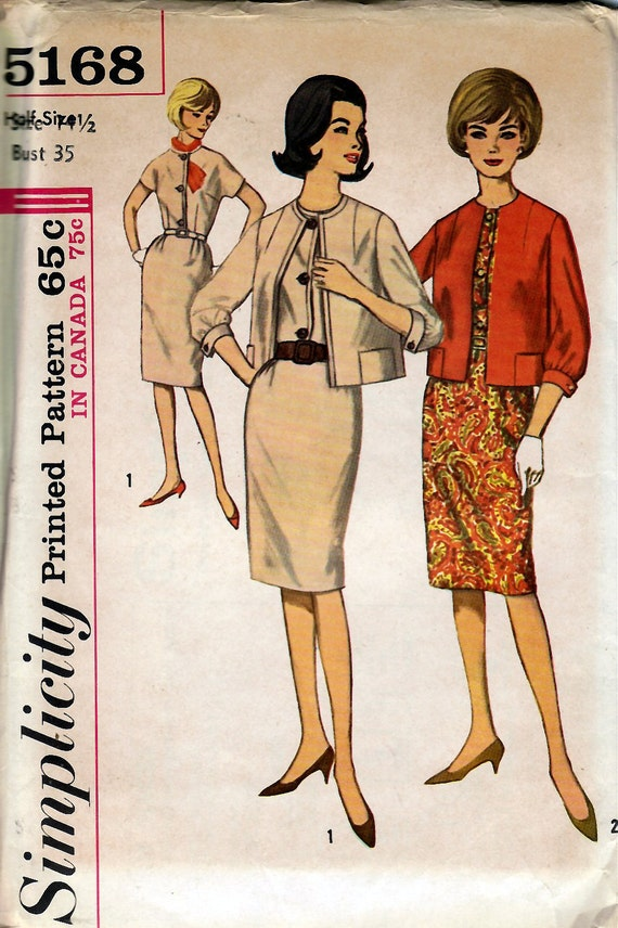 1960's Misses' Dress and Jacket  Simplicity 5168  Size 14 1/2  Bust 35  Factory Folded