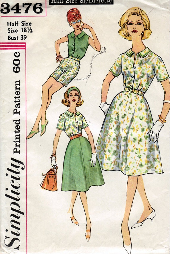 1960's Women's Blouse, Shorts and Skirt  Simplicity 3476  Size 18 1/2  Bust 39 Factory Folded
