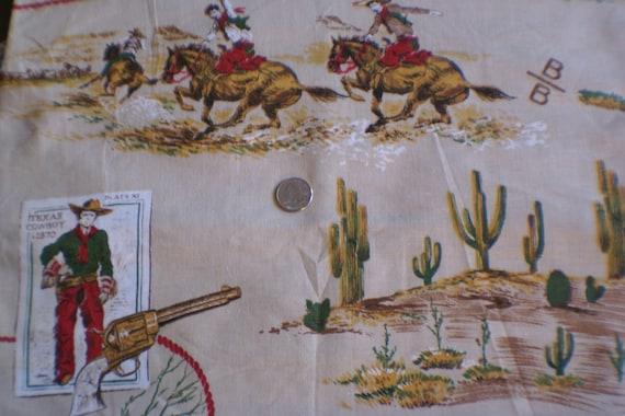 "50's Western Cowboy Theme Cotton Fabric  1 Yard 8 1/2"""