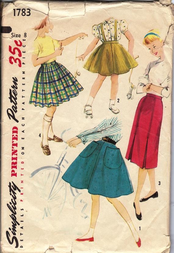 1950's Girls' Set of Skirts  Simplicity 1783  Size 8  Waist 23