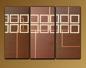 Squares Art Painting - Abstract, Geometric, Original, Large, Modern, Acrylic, Lines, Brown, Copper, 48x66