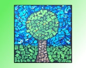 Mosaic Tiled Tree - Painted, Acrylic, Blue, Green, Black, Landscape, Home Decor, 12 x 12