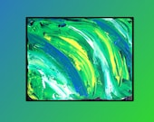 Green Pallet Knife Painting - Abstract, Bold, Colorful, Blue, White Yellow, 8x10