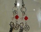 Fire and Ice, Pentacle and Moon, Dangle Earrings, OOAK