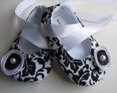 Black & White Damask Baby Shoes Soft Ballerina Slippers Baby Booties