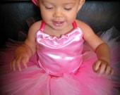 Baby Toddler Princess Pink Tutu Outfit Costume Set with Pink Satin Top