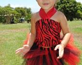 Baby Toddler Red & Black Zebra Tutu Outfit Costume Set 3 pc (Tutu, Stylish Top, Headband)