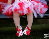 Red-White Polka Dot Baby Shoes Soft Ballerina Slippers Baby Booties