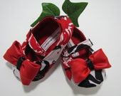 Maryjane Baby Shoes in Red White & Black