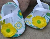 Baby Shoes Green & Yellow on White Floral Baby Ballerina Slippers