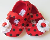 Ladybug Red & Black Polka Dot Baby Shoes Soft Ballerina Slippers Baby Booties Maryjane