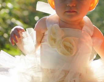 Baby Toddler Ivory Tutu Outfit Costume Set Photo Prop