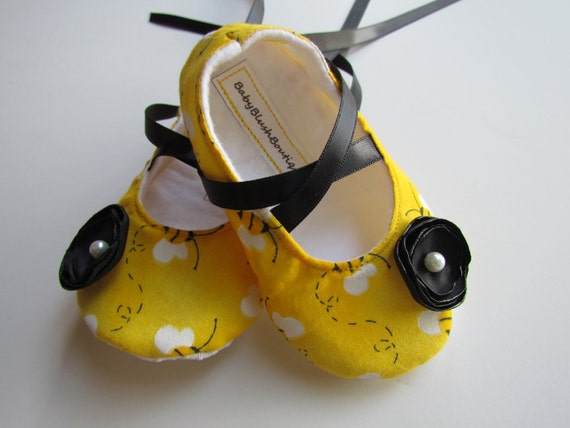 Bumble Bee Baby Shoes Soft Ballerina Slippers Booties