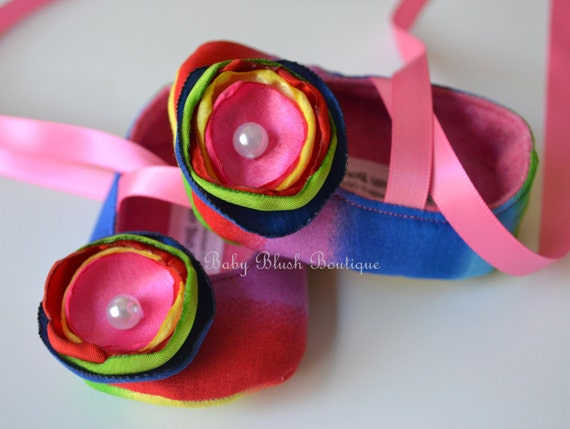 Rainbow Color Baby Shoes - Soft Ballerina Slippers Baby Booties