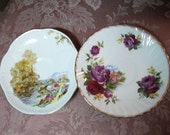Vintage Rose & Country Landscape Bone China Saucers