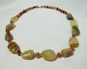 Vintage Polished Stone And Carnelians Necklace