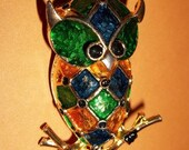 Vintage Gold Finish Owl Brooch With Colorful Enamel Detailing
