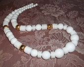 Vintage White Lucite And Gold Bead Necklace
