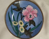 Vintage Porcelain Hand Painted Floral Motif Plate Framed In Brass