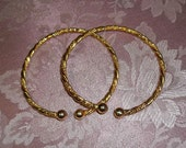 Vintage Pair of Golden Rope Bangle Bracelets