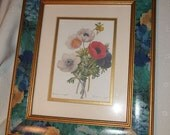 Vintage Botanical Print, Double Matted, And Framed With Decoupage And Gold Trim