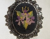 Vintage Petit Point Brooch/Pendant With Floral Motif