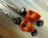 Day Of The Dead Earrings Sugar Skull Orange Black Dice