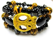 Yellow & Black 80's Style Punk Inspired Sliced Sugar Skull Wrap Cuff Bracelet