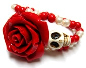 Sugar Skull Bracelet Gothic Candy Striper Red & White Day of the Dead Cuff