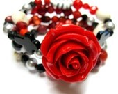 Gothic Red Bead Soup Sugar Skull Bracelet - Day of the Dead Statement Red Rose Cuff
