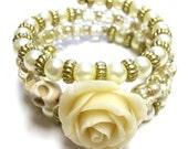 Romantic Princess Sugar Skulls Bracelet Day of the Dead Wedding Cuff