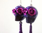 Sugar Skull Earrings Day Of The Dead Purple Fuschia Rose
