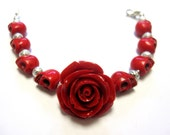 Day of The Dead Bracelet Sugar Skull Bracelet & Red Rose Jewelry