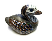 Large Mexican Duck Pottery Handcrafted Brass Metal Clay Duck Blue White Brown Figurine Statue