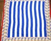 Beach Blanket Bingo Summer Scarf  Red White  Yellow & Blue Nautical Stripes