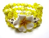 Yellow Sunshine Day of the Dead Bracelet White Hibiscus & Sugar Skull Jewelry