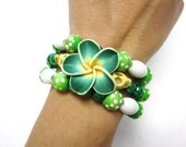 Sugar Skull Bracelet Green Hibiscus Day of the Dead Wrap Around Memory Wire