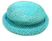 Turquoise Hat Rolled Brim Woven Cloche 80s Blossom Style Hat