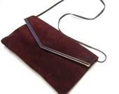 Deep Red Cranberry 80's Suede Leather Clutch Purse Handbag