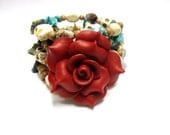 Sunset Day of the Dead Sugar Skull Bracelet Wrap Around Cuff  Red Rose