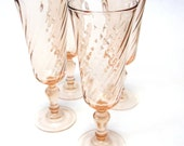 Blush Pink French Wine Drinking Glasses Delicate Set Of Four Goblets