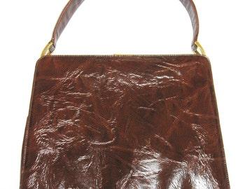 Brown Purse Handbag Coquette New York 50's Textured