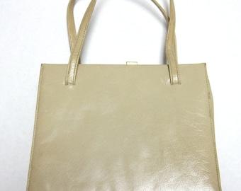 Cream Leather Purse Ivory Beige Handbag Calfskin Mam'selle