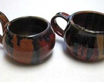 Brown Orange Cup Earthtone Dripware Mug Coffee Terra Cotta Signed Handmade