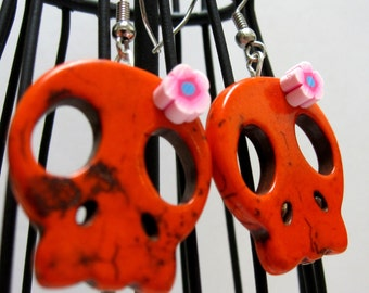 Sugar Skull Earrings Day Of The Dead Orange Pink Flower