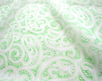 Long Vintage Scarf  In Pale Green Paisley