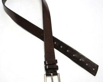 Vintage Brown Leather Belt Mens Size 34