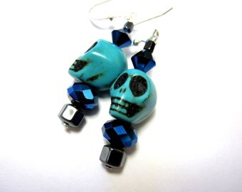 Blue Skull Earrings Day of the Dead Jewelry Turquoise Dangle
